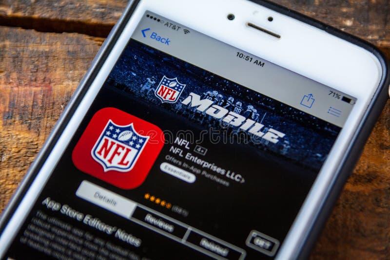 拉斯维加斯, NV - 9月22日 2016 - 在Th的美国橄榄球联盟流动iPhone App 库存图片