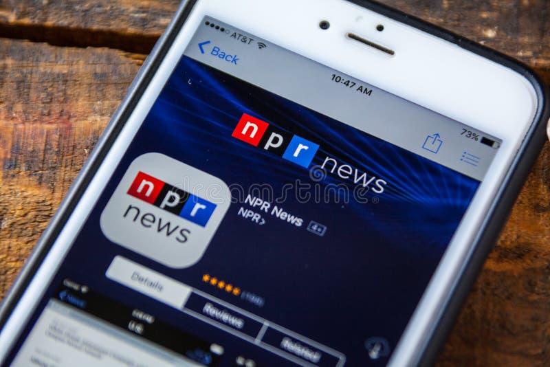 拉斯维加斯, NV - 9月22日 2016 - NPR在的新闻iPhone App 库存照片
