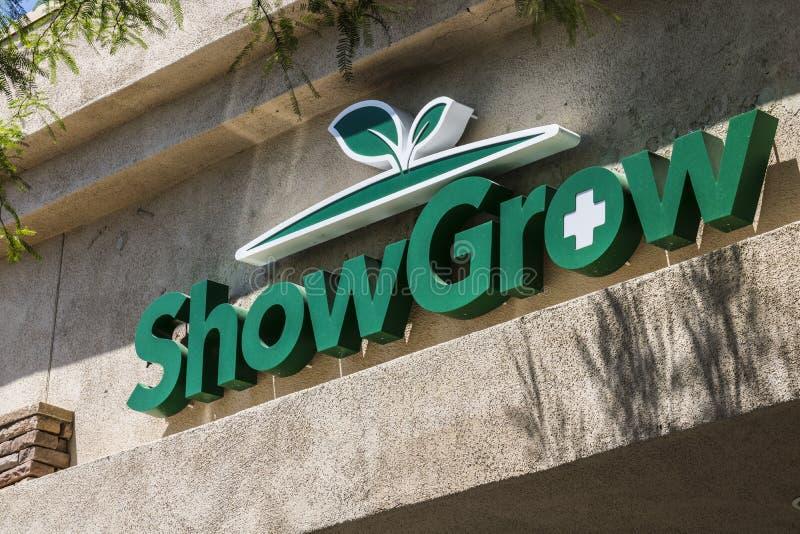 拉斯维加斯-大约2017年7月:ShowGrow大麻防治所 在2017年,消遣罐是法律的在内华达IV 免版税库存图片