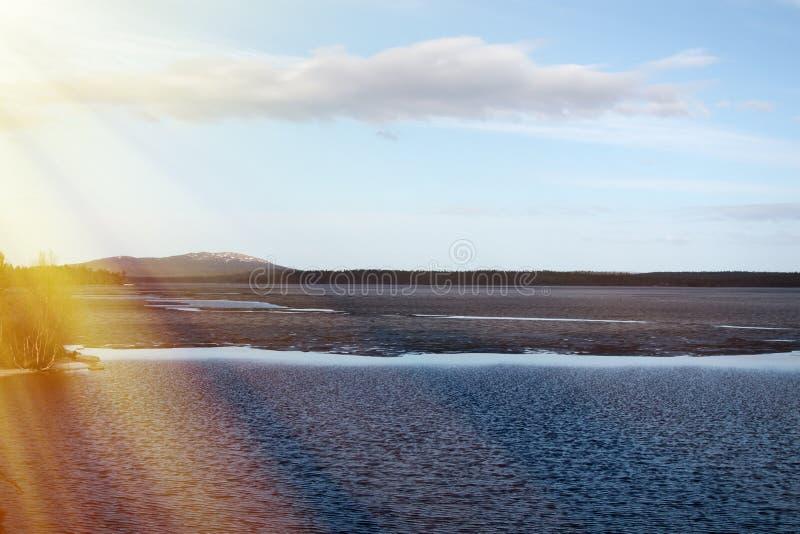 拉普兰森林湖与春日的阳光 免版税库存图片