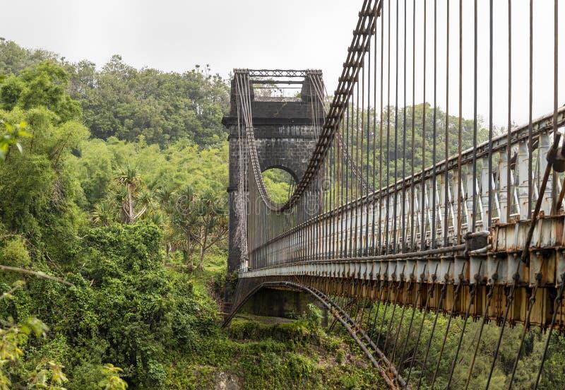 拉留尼汪东岸旧吊桥 免版税库存照片