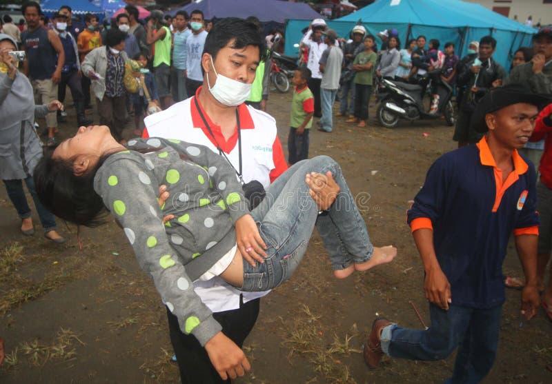 默拉皮火山爆发难民 图库摄影