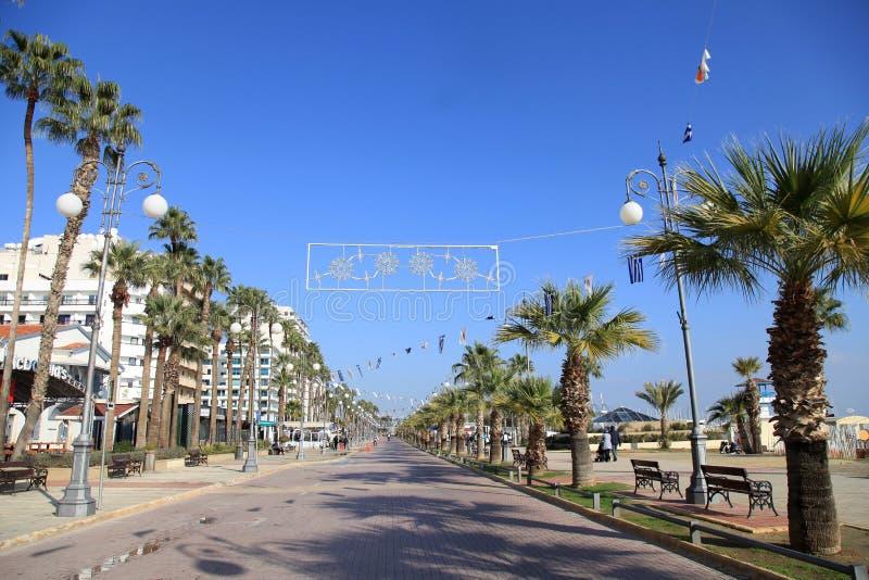 拉纳卡,塞浦路斯Finikoudes散步  免版税库存照片