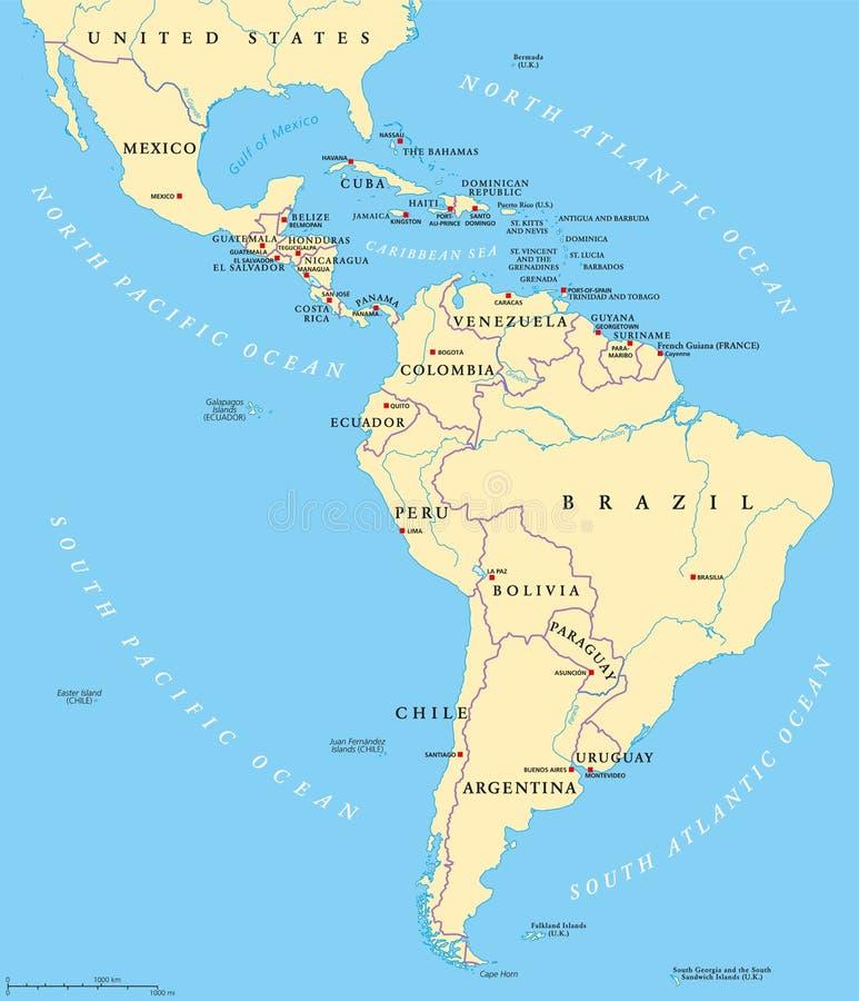 拉美政治地图 库存例证
