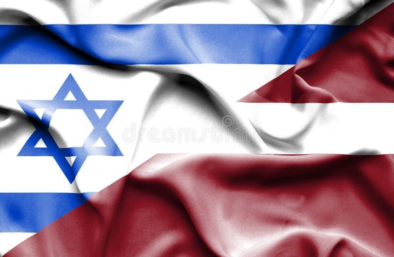 拉脱维亚和以色列的挥动的旗子 库存例证