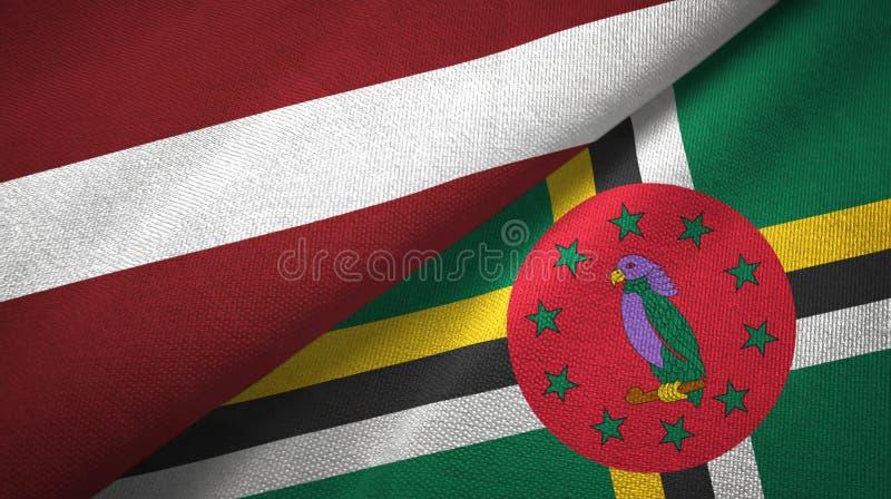 拉脱维亚和多米尼加两旗子纺织品布料,织品纹理 皇族释放例证