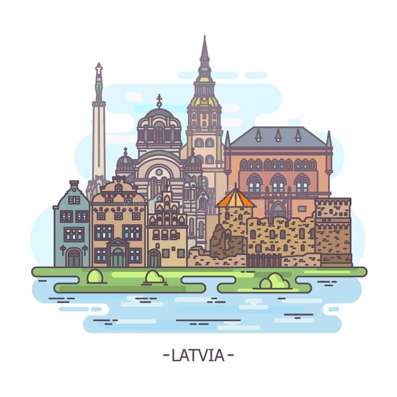 拉脱维亚建筑学大厦或拉脱维亚地标 向量例证