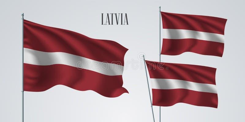 拉脱维亚挥动的旗子套传染媒介例证 向量例证