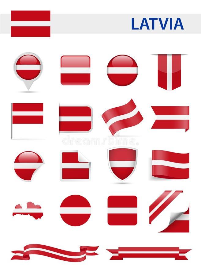 拉脱维亚旗子传染媒介集合 皇族释放例证
