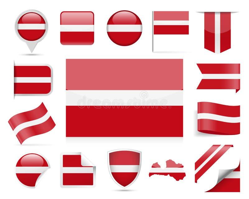 拉脱维亚旗子传染媒介集合 向量例证