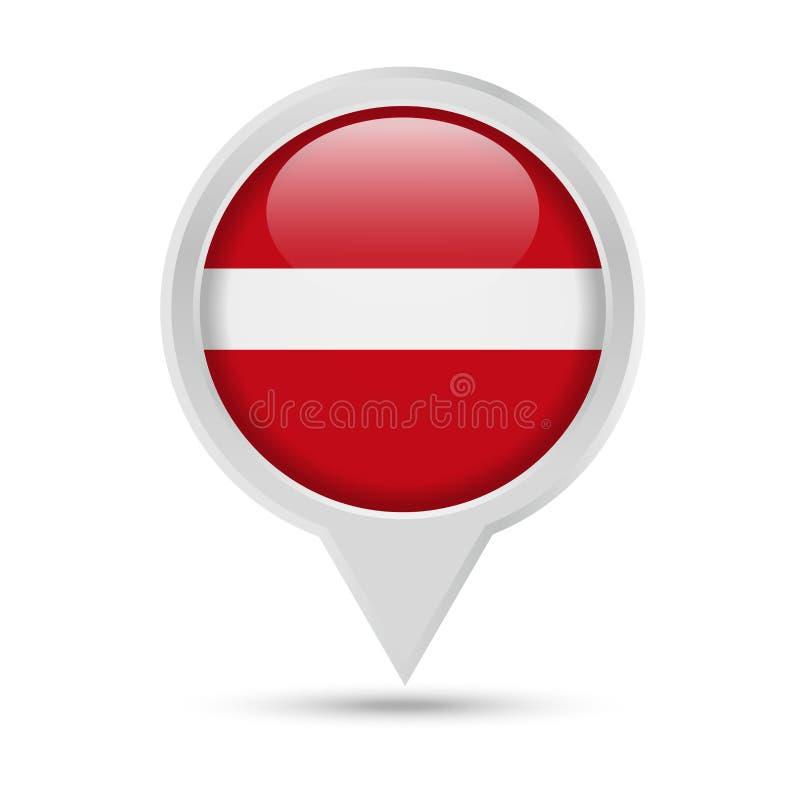 拉脱维亚旗子圆的Pin传染媒介象 向量例证