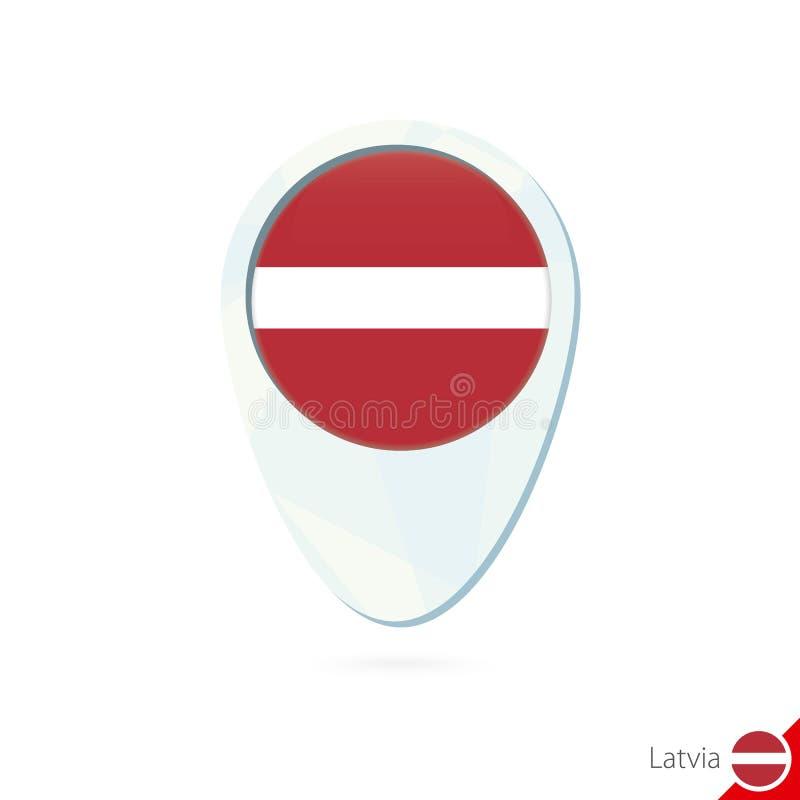 拉脱维亚旗子定位图在白色背景的别针象 库存例证