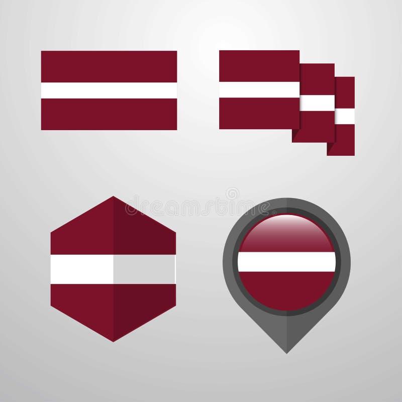 拉脱维亚旗子设计集合传染媒介 向量例证