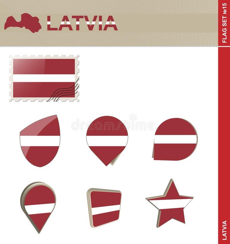 拉脱维亚旗子集合,旗子集合#15 库存例证