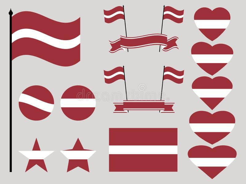 拉脱维亚旗子集合 标志心脏和圈子的汇集 向量 库存例证