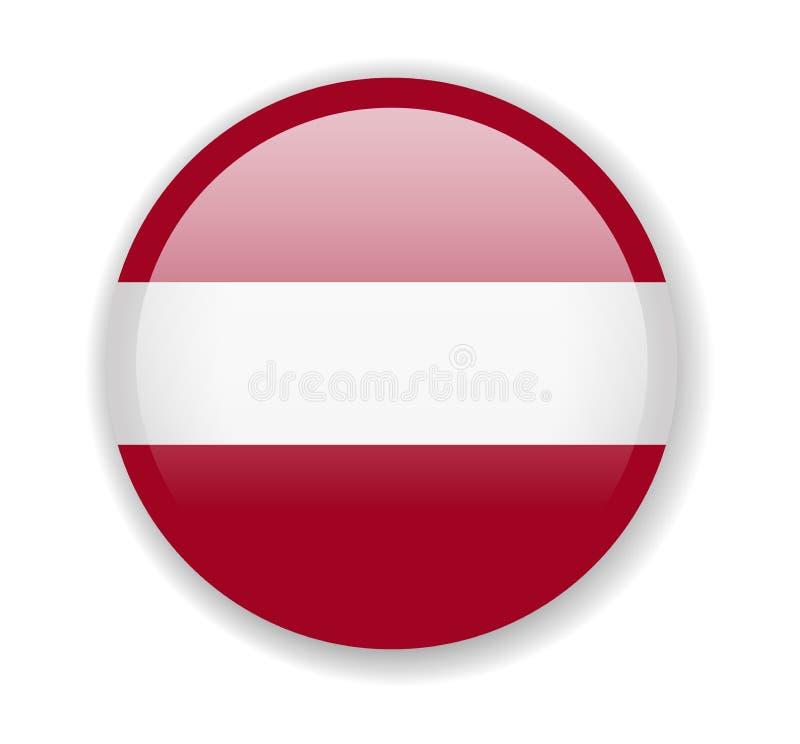拉脱维亚旗子 在白色背景的圆的明亮的象 向量例证