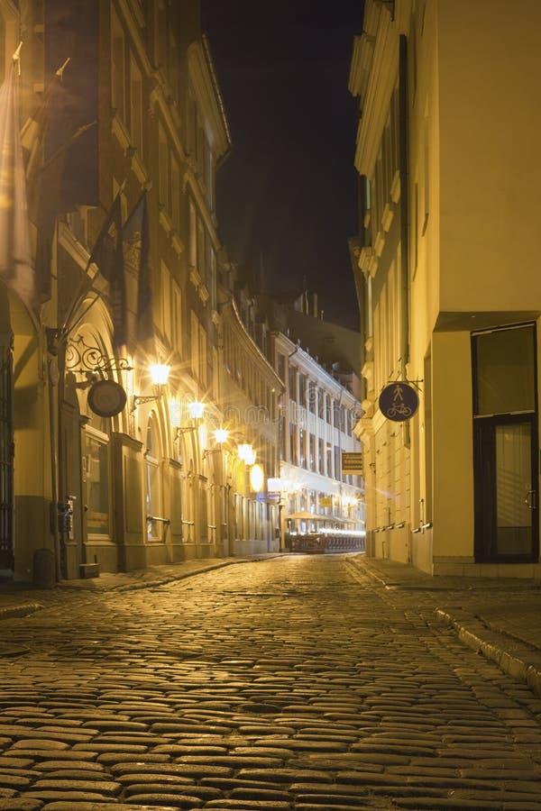 拉脱维亚晚上里加街道 免版税库存图片