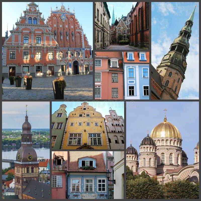 拉脱维亚美丽的里加,老城美景,拼贴画 免版税库存照片