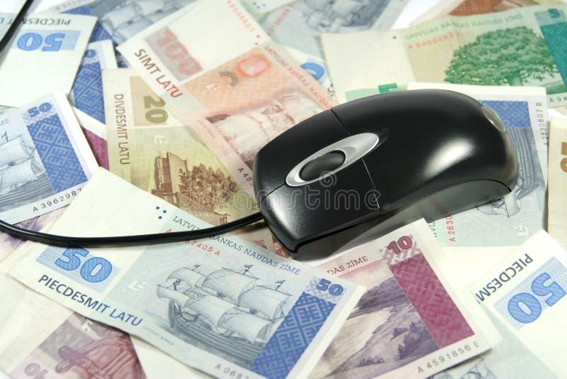 拉脱维亚货币鼠标 库存照片