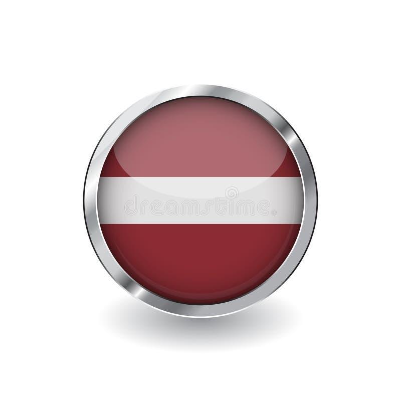 拉脱维亚,有金属框架和阴影的按钮的旗子 拉脱维亚旗子传染媒介象、徽章与光滑的作用和金属边界 现实主义者 皇族释放例证