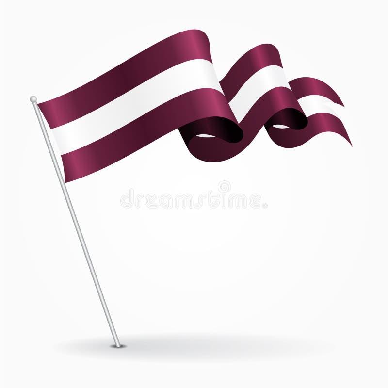 拉脱维亚别针波浪旗子 也corel凹道例证向量 向量例证