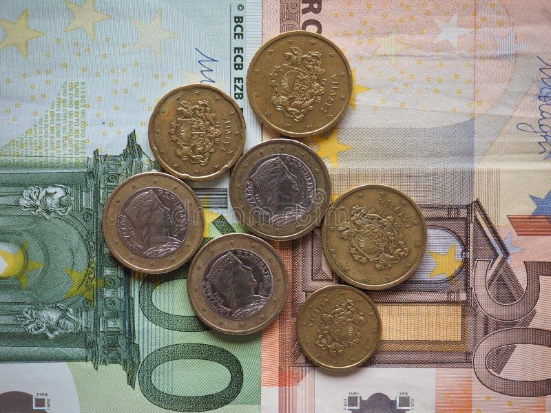 拉脱维亚发布的欧洲硬币 免版税库存图片