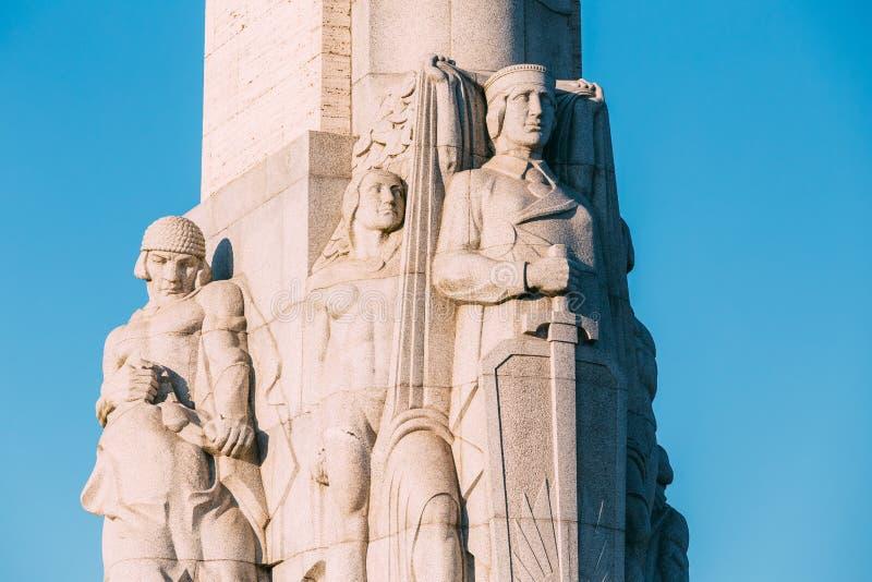 拉脱维亚里加 关闭著名地标细节-纪念自由 库存图片