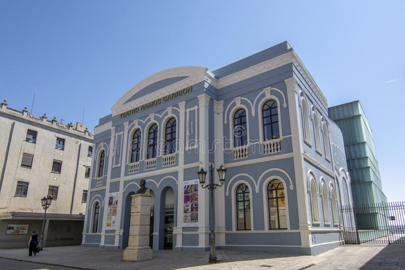 拉莫斯Carrià ³ n剧院的主要门面在萨莫拉, 库存照片