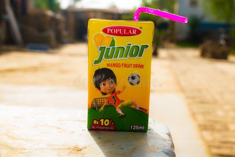 拉赫曼yar可汗,旁遮普邦,巴基斯坦7月1,2019:小辈芒果果汁饮料组装 免版税库存图片