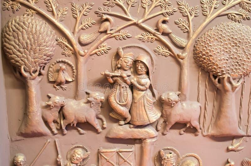 拉达Krishana墙壁上的墙壁艺术印度 免版税库存图片