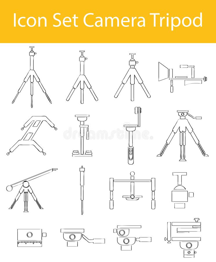 拉长的乱画排行了象集合照相机三脚架 库存例证