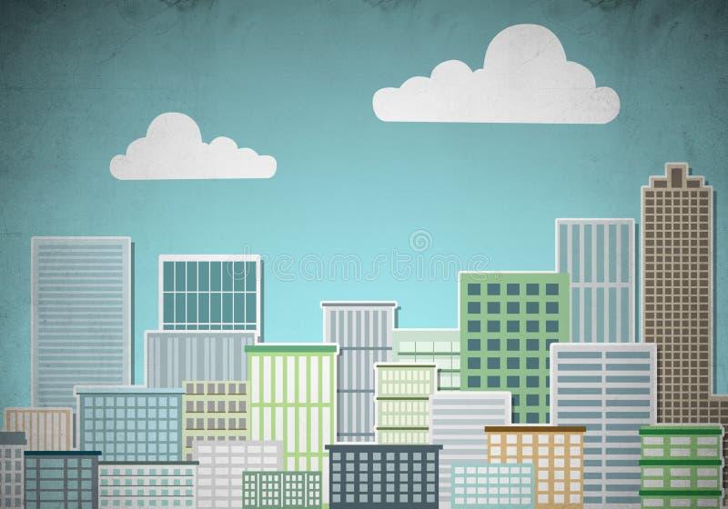 拉长的五颜六色的都市风景 向量例证