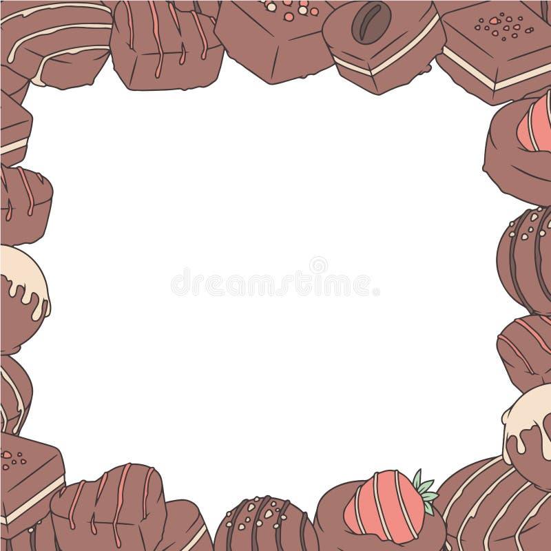 拉长的传染媒介例证边界用涂了巧克力的果仁糖 库存例证