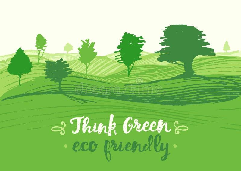 拉长的传染媒介例证绿色背景eco 库存例证
