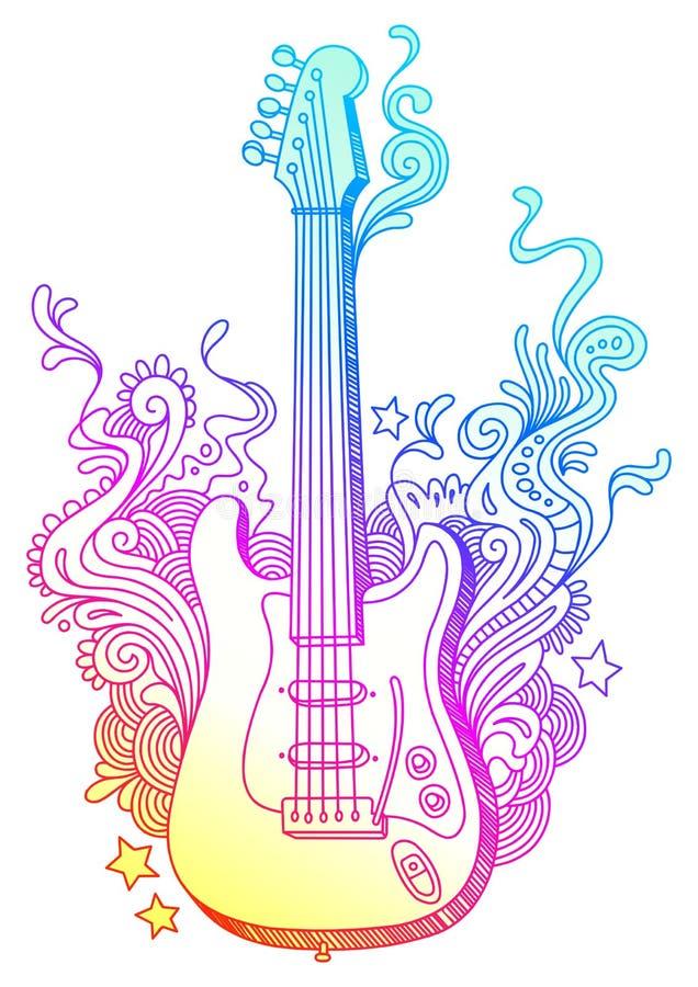 拉长的吉他现有量 向量例证