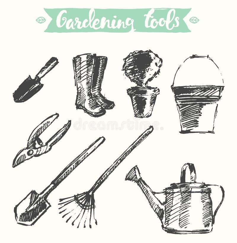 拉长的园艺工具传染媒介例证,剪影 皇族释放例证