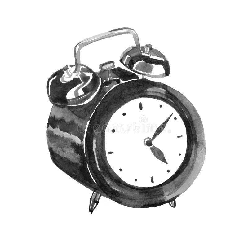拉长的墨水剪影和水彩 黑闹钟的例证 商标时间 库存例证