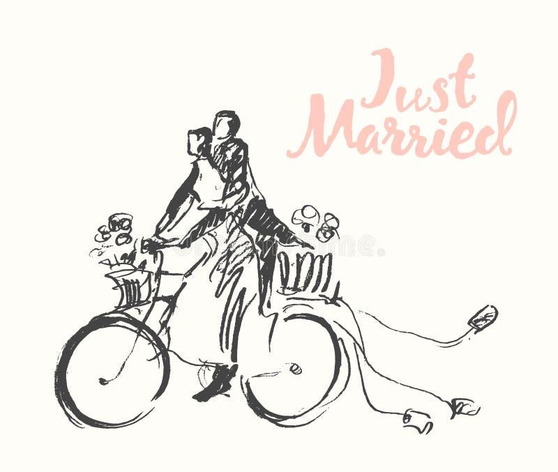 拉长的愉快的新娘新郎自行车传染媒介剪影 皇族释放例证