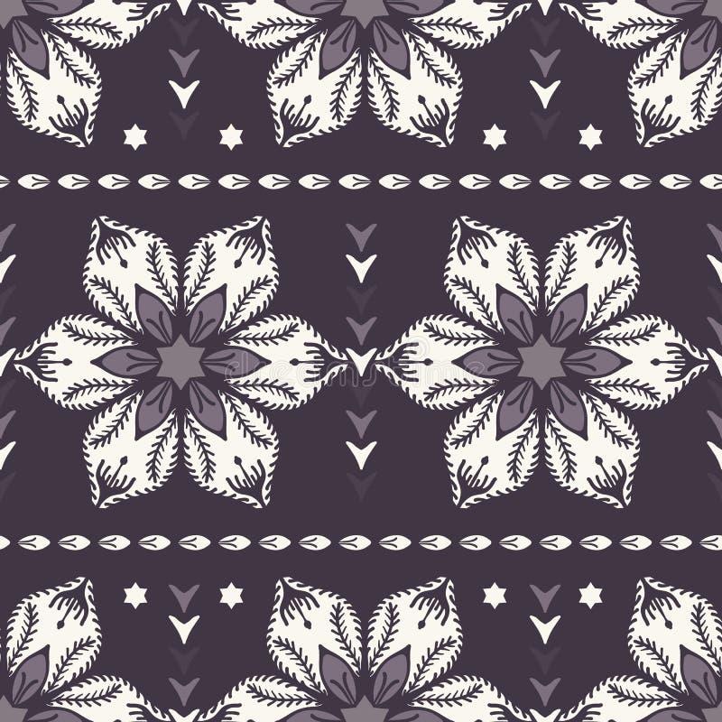 拉长的抽象圣诞节花纹花样 花卉风格化一品红 黑白色背景 在印刷品的寒假 皇族释放例证