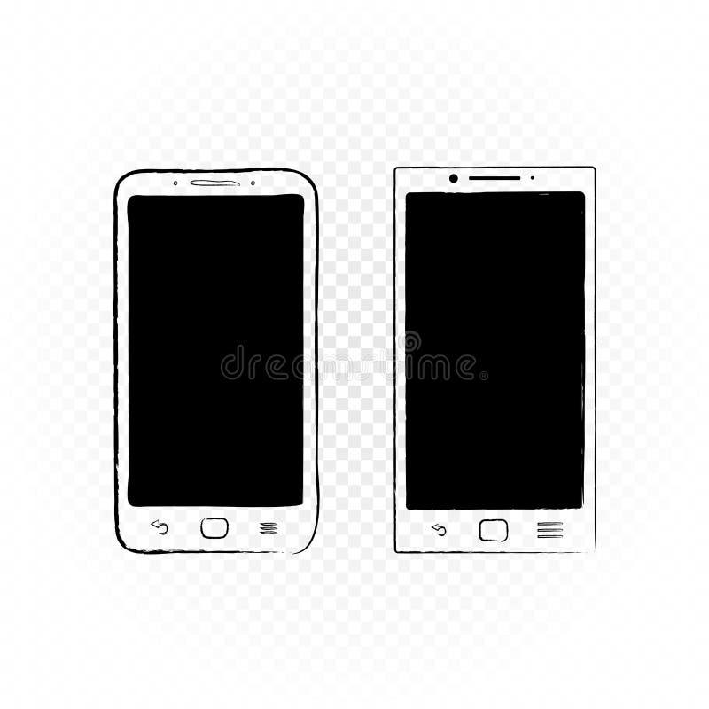拉长的智能手机白色背景 向量例证