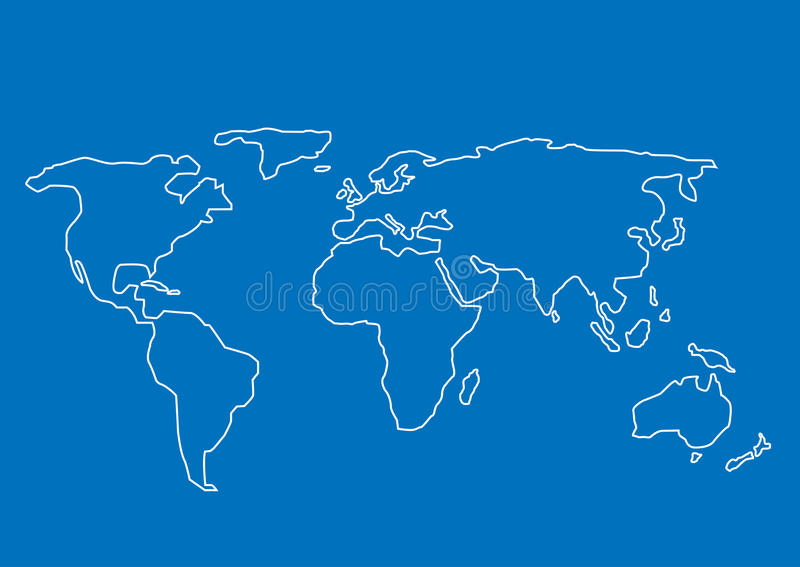 拉长的现有量映射世界 向量例证