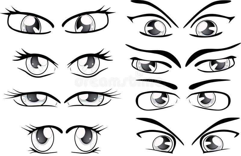 拉长的眼睛的成套 向量例证