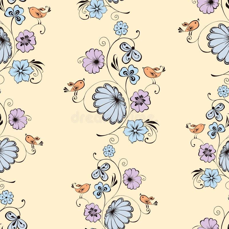 拉长的美妙的花和鸟无缝的背景  皇族释放例证