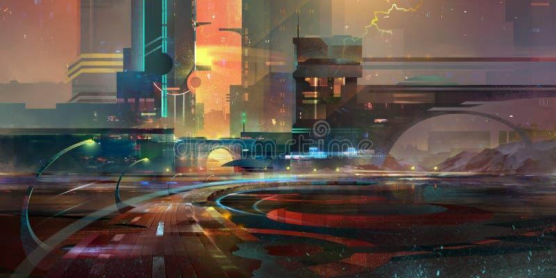 拉长的黑暗的幻想未来城市 向量例证