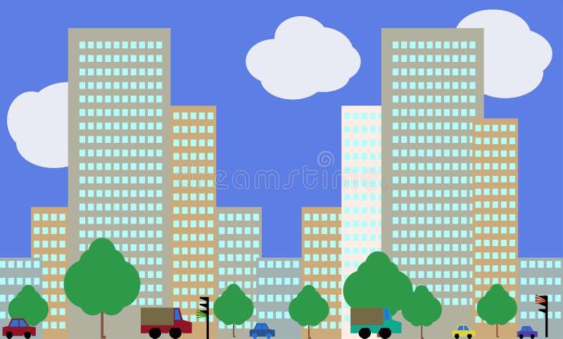 拉长的children's与多彩多姿的大厦和汽车的城市风景 免版税库存照片