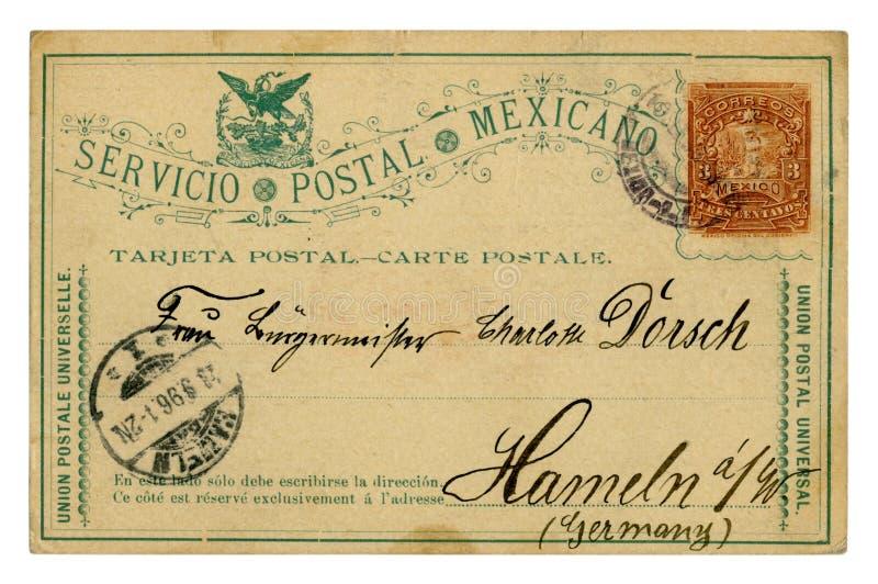 拉雷多,墨西哥-大约1896:墨西哥历史明信片:一张被印的邮票三分,演讲对哈默尔恩德国, 免版税库存照片