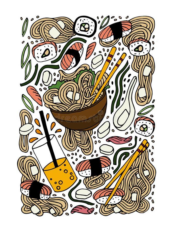 拉面和寿司乱画样式手拉的彩色插图 日本食物 亚洲烹调 库存例证