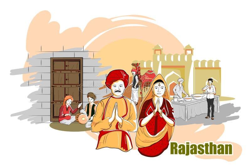 拉贾斯坦,印度的人们和文化 皇族释放例证