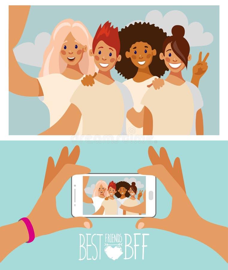 拍与智能手机的小组四个女朋友一张照片 库存例证