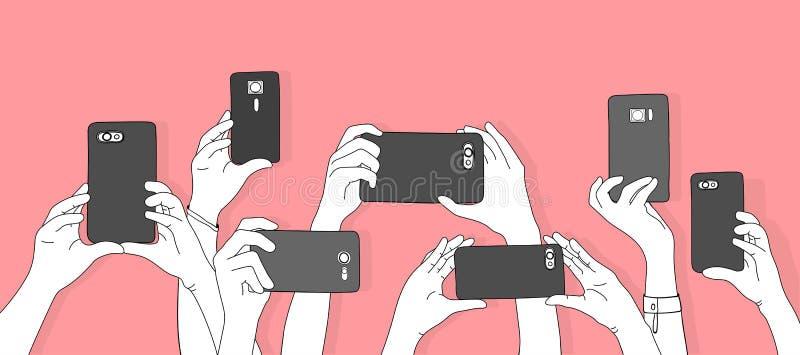 拍与智能手机的手的例证照片 皇族释放例证